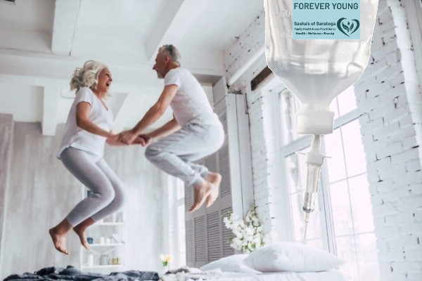 Forever Young (image of older couple jumping on bed)